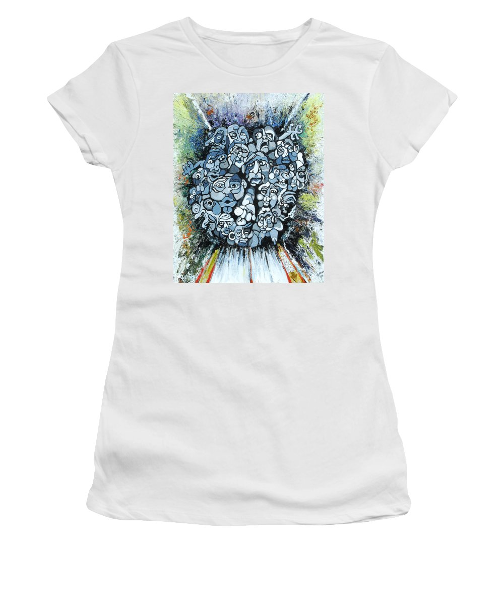 Surreal Women's T-Shirt (Athletic Fit) featuring the painting Elevator by Julie Fischer