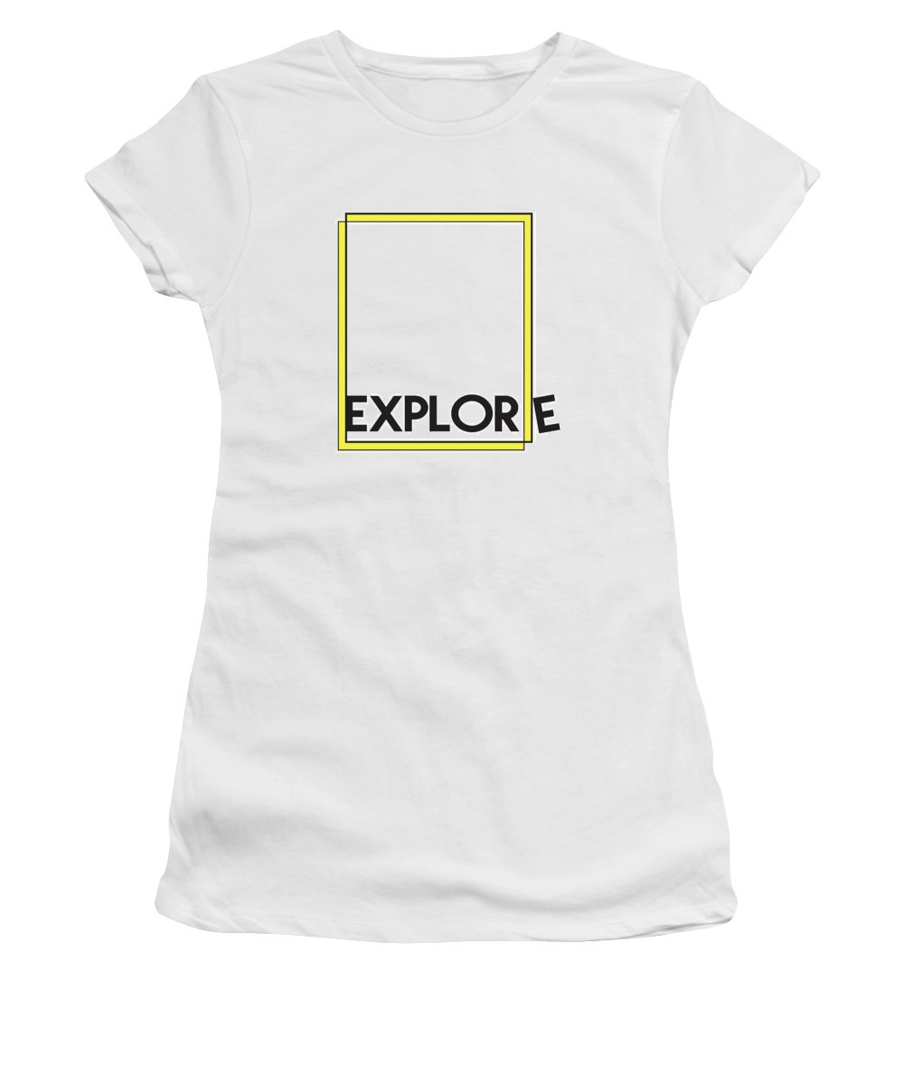 Explore Women's T-Shirt (Athletic Fit) featuring the mixed media Explore by Studio Grafiikka