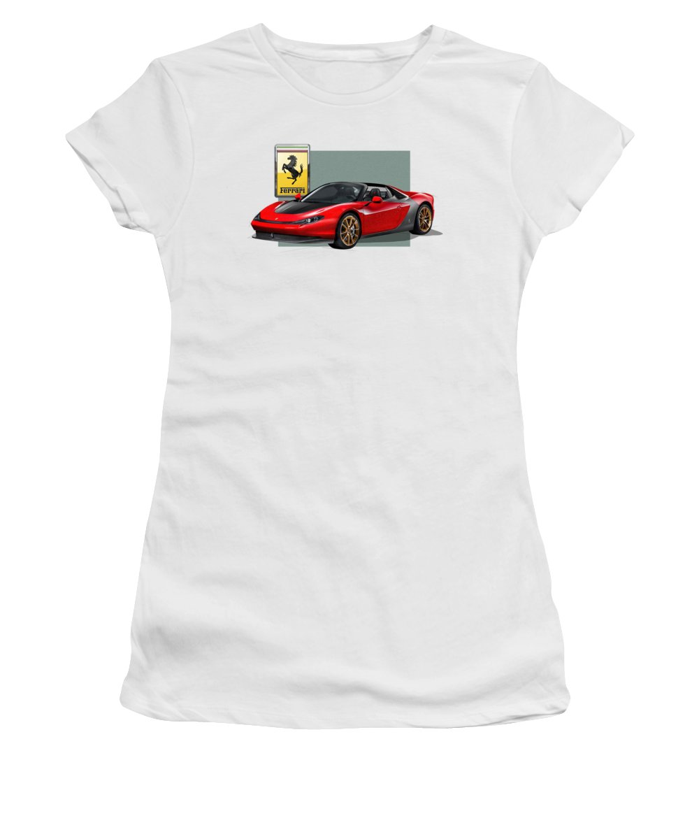 �ferrari� Collection By Serge Averbukh Women's T-Shirt (Junior Cut) featuring the photograph Ferrari Sergio With 3d Badge by Serge Averbukh