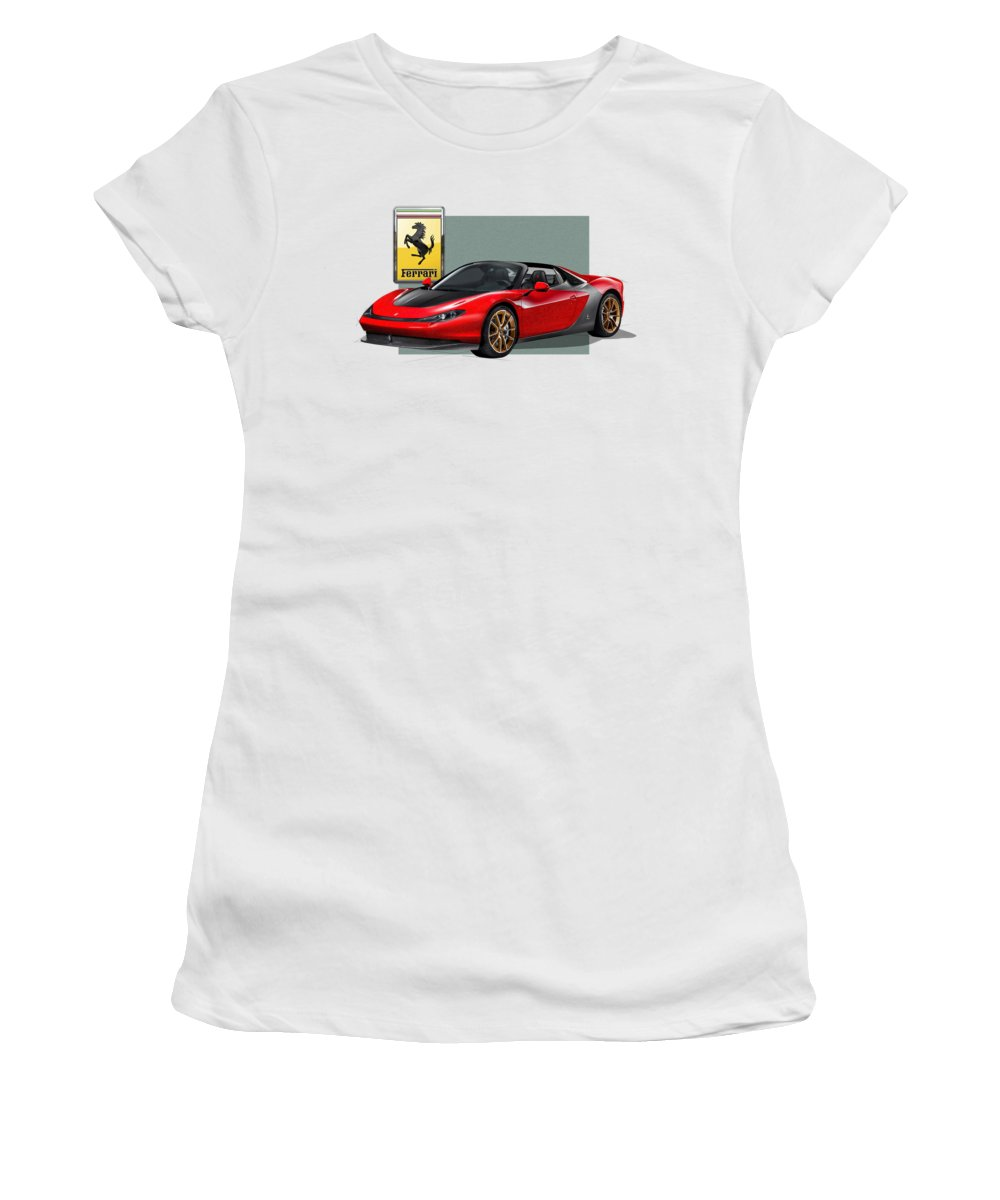 �ferrari� Collection By Serge Averbukh Women's T-Shirt featuring the photograph Ferrari Sergio With 3d Badge by Serge Averbukh