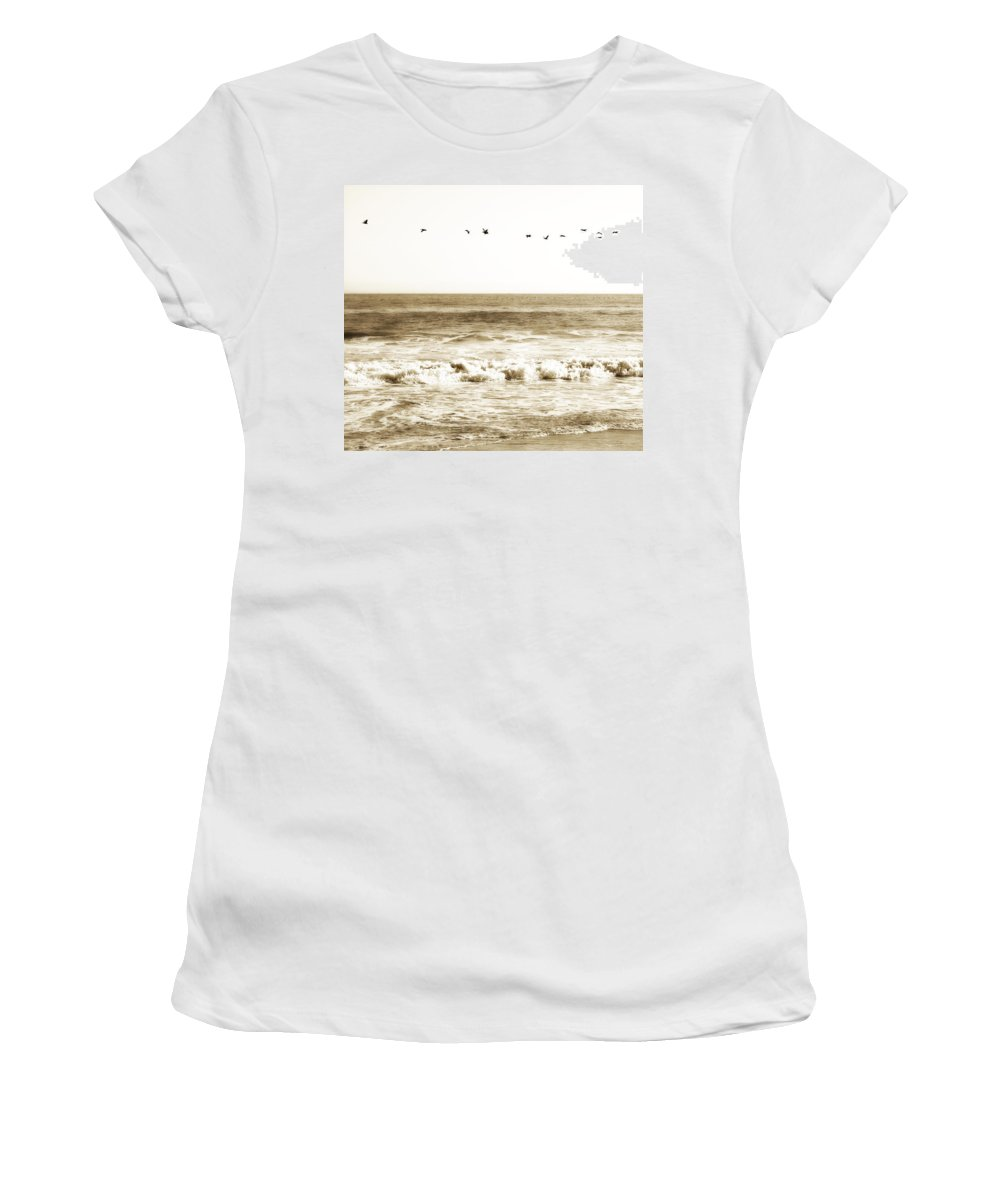 Bird Women's T-Shirt (Athletic Fit) featuring the photograph Flying High by Marilyn Hunt