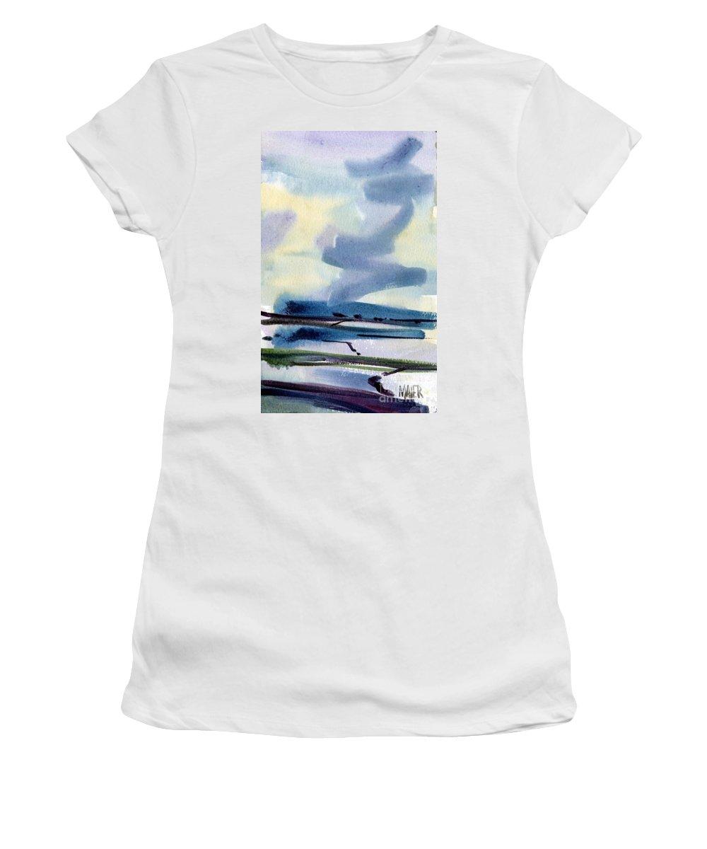 Salt Pans Women's T-Shirt (Athletic Fit) featuring the painting Fremont Salt Pans by Donald Maier