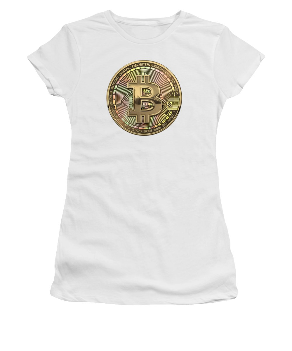 'money' Collection By Serge Averbukh Women's T-Shirt featuring the photograph Gold Bitcoin Effigy Over White Leather by Serge Averbukh
