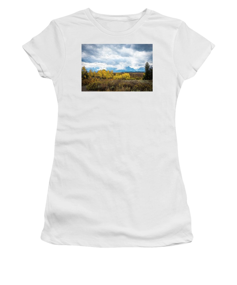 National Parks Women's T-Shirt featuring the photograph Grand Tetons by Aileen Savage