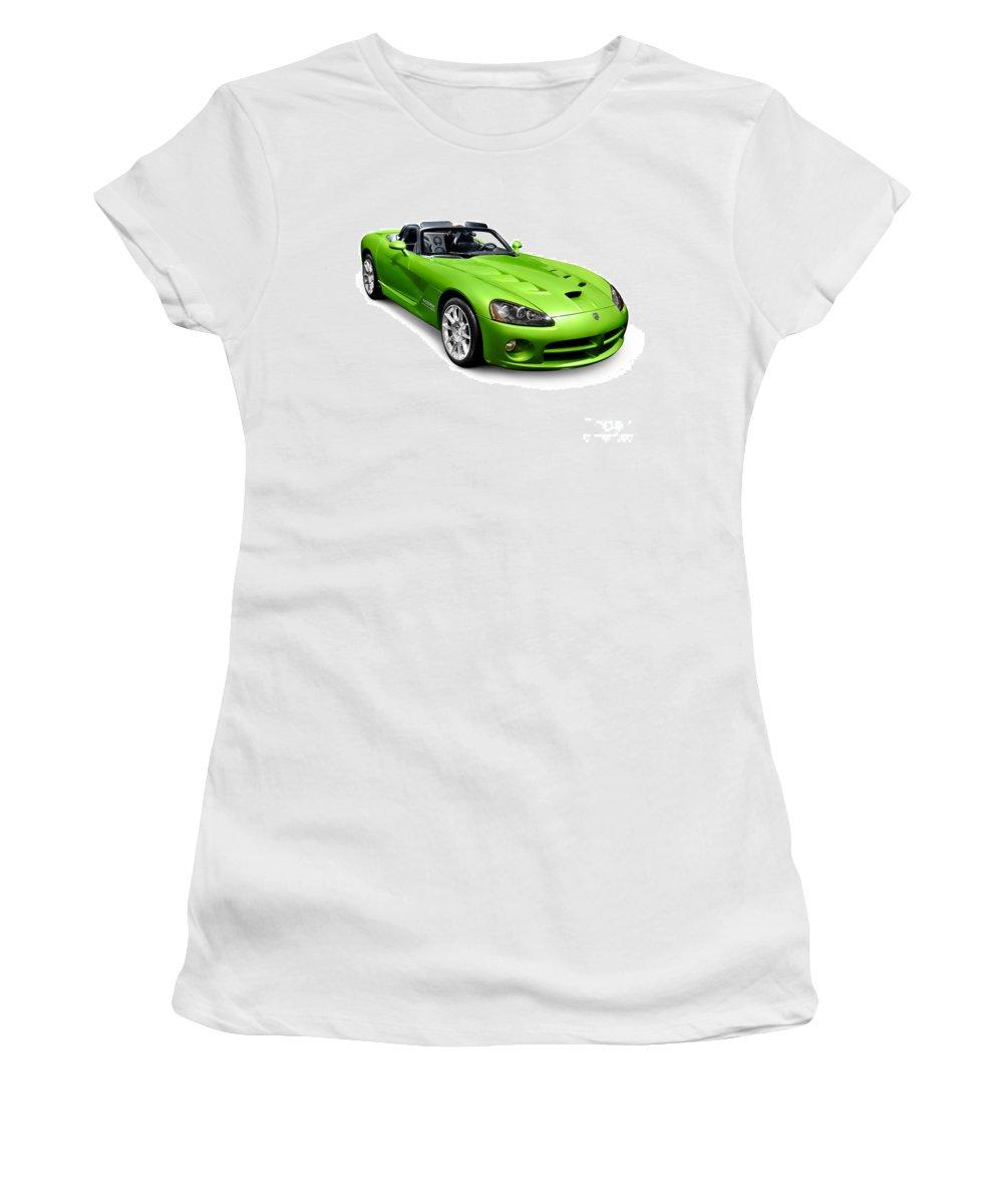 Dodge Viper Women's T-Shirt featuring the photograph Green 2008 Dodge Viper Srt10 Roadster by Oleksiy Maksymenko