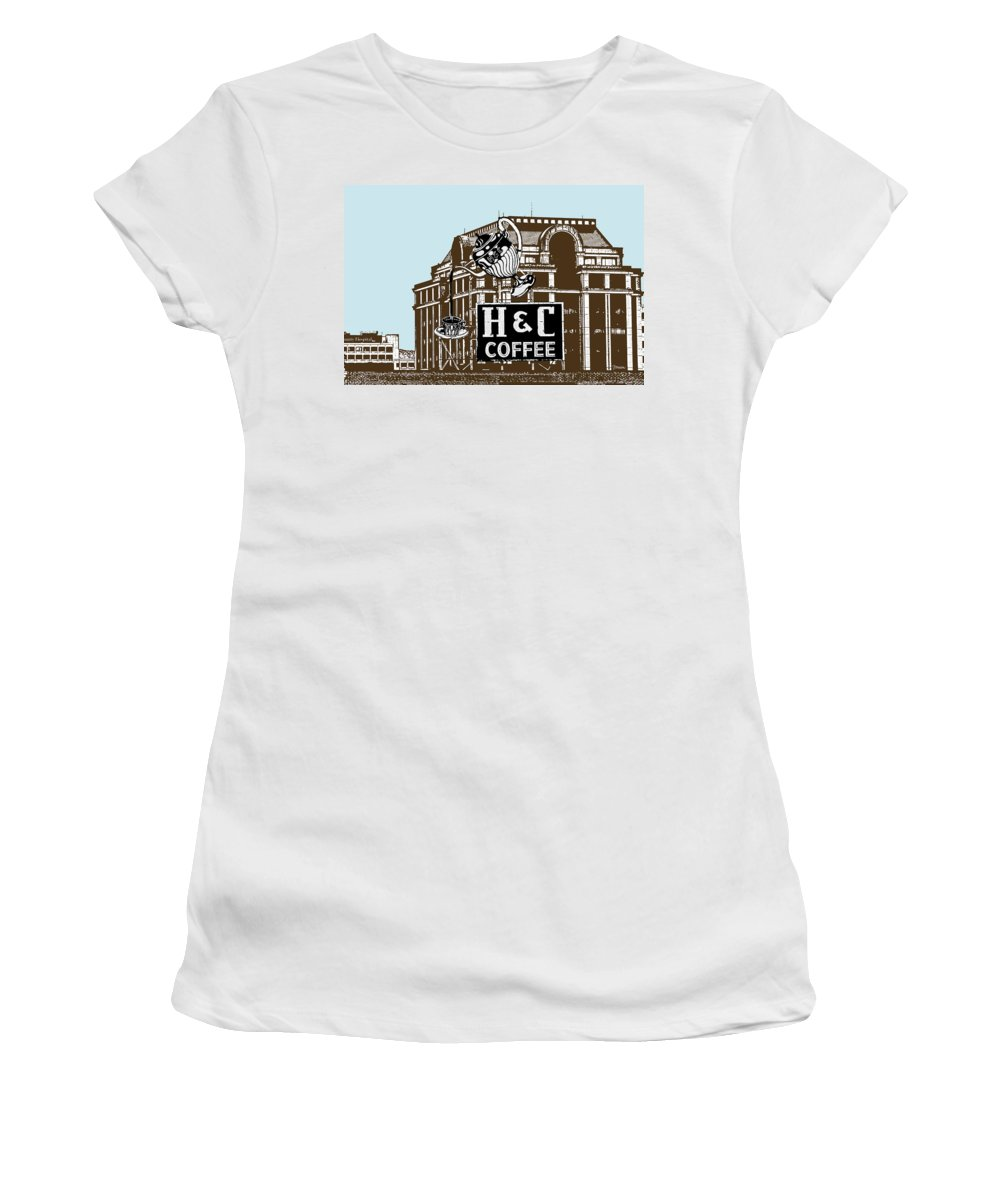 H Women's T-Shirt (Athletic Fit) featuring the photograph H And C Coffee Sign Roanoke Virginia by Teresa Mucha