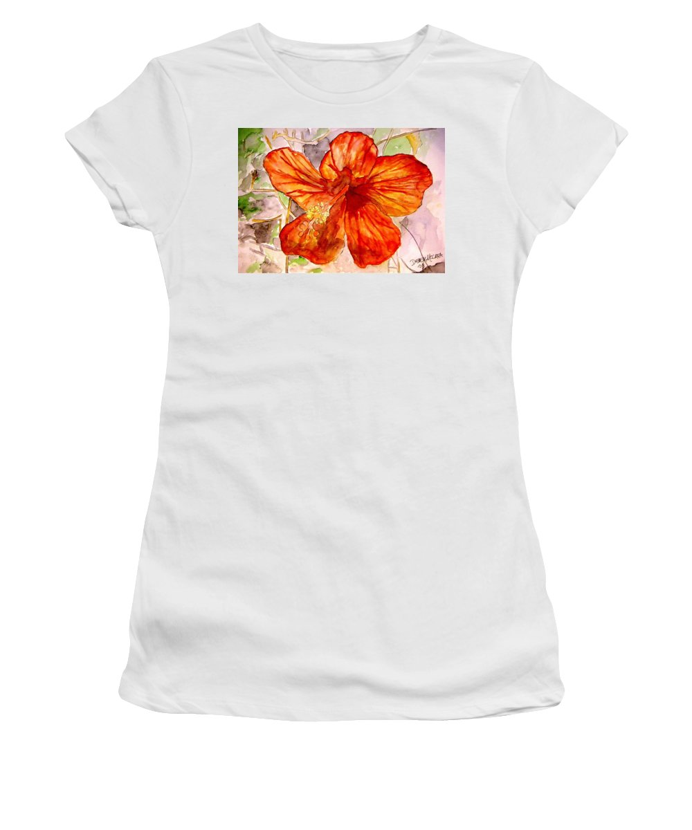 Hibiscus Women's T-Shirt (Athletic Fit) featuring the painting Hibiscus 2 by Derek Mccrea