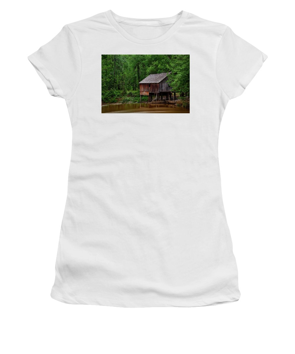 Rikard's Mill Women's T-Shirt (Athletic Fit) featuring the photograph Historic Rikard's Mill - Alabama by Mountain Dreams