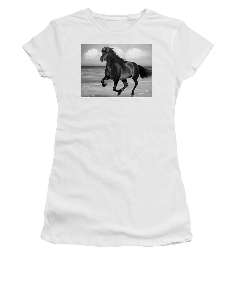 Horses Women's T-Shirt (Athletic Fit) featuring the painting Horses In Paradise Run by Gina De Gorna