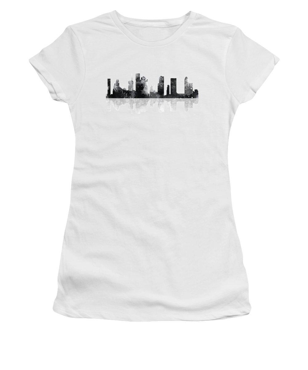 Houston Texas Skyline Women's T-Shirt featuring the digital art Houston Texas Skyline by Marlene Watson