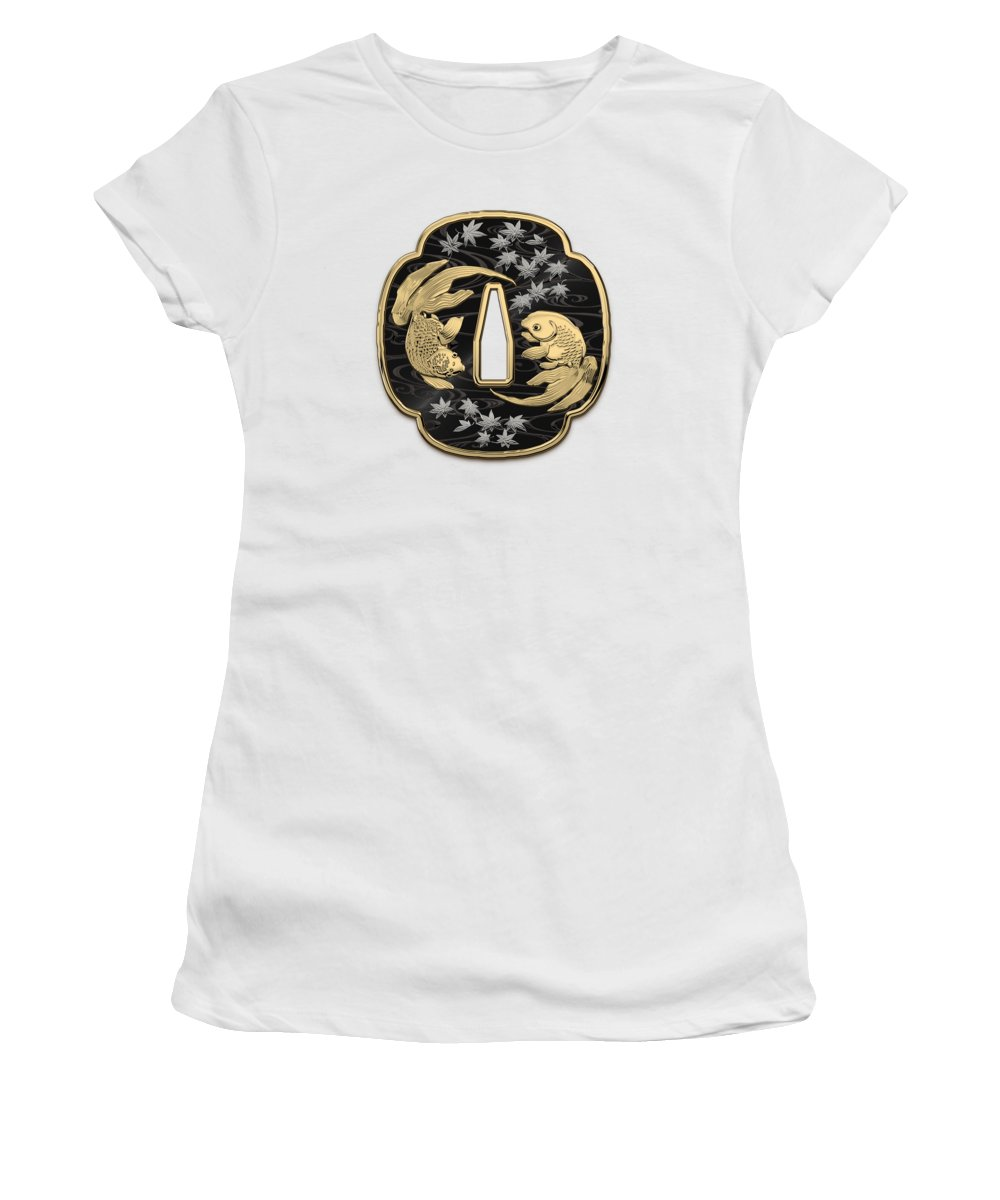 'treasures Of Japan' Collection By Serge Averbukh Women's T-Shirt featuring the photograph Japanese Katana Tsuba - Twin Gold Fish On Black Steel Over White Leather by Serge Averbukh