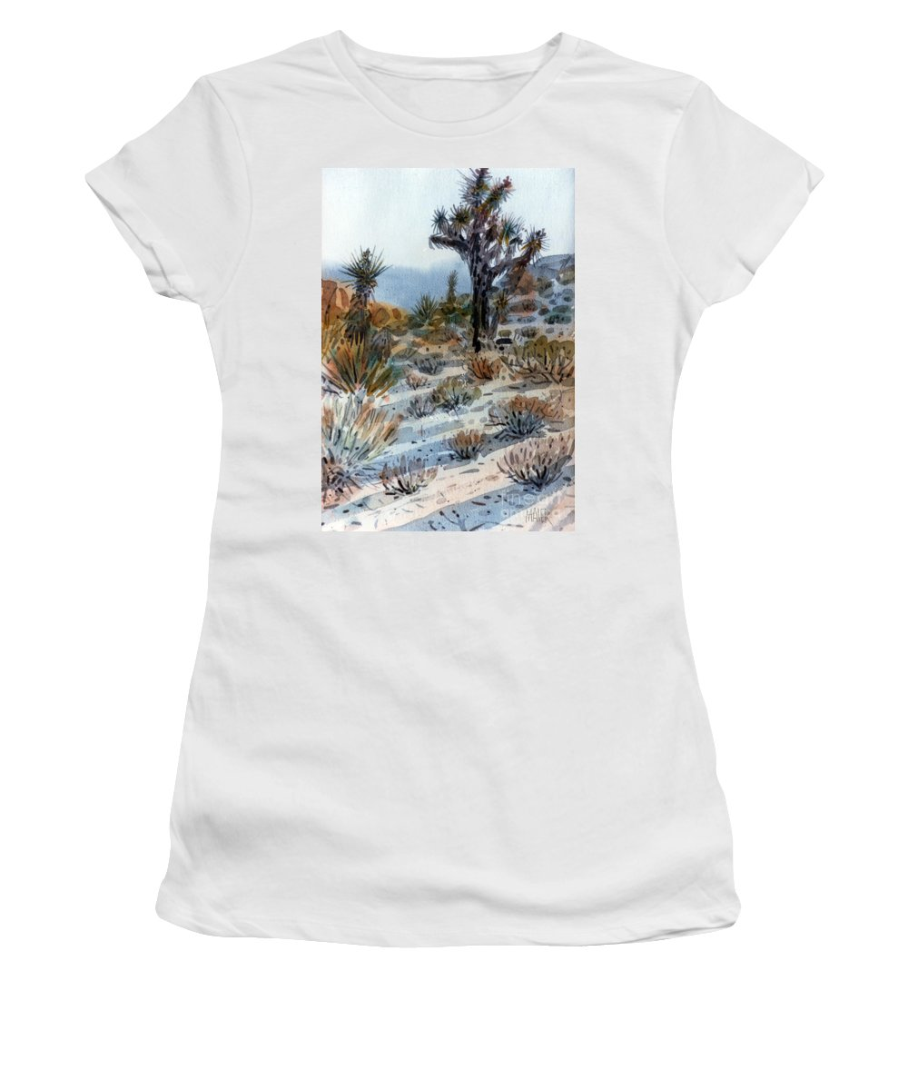 Joshua Tree Women's T-Shirt (Athletic Fit) featuring the painting Joshua Tree by Donald Maier