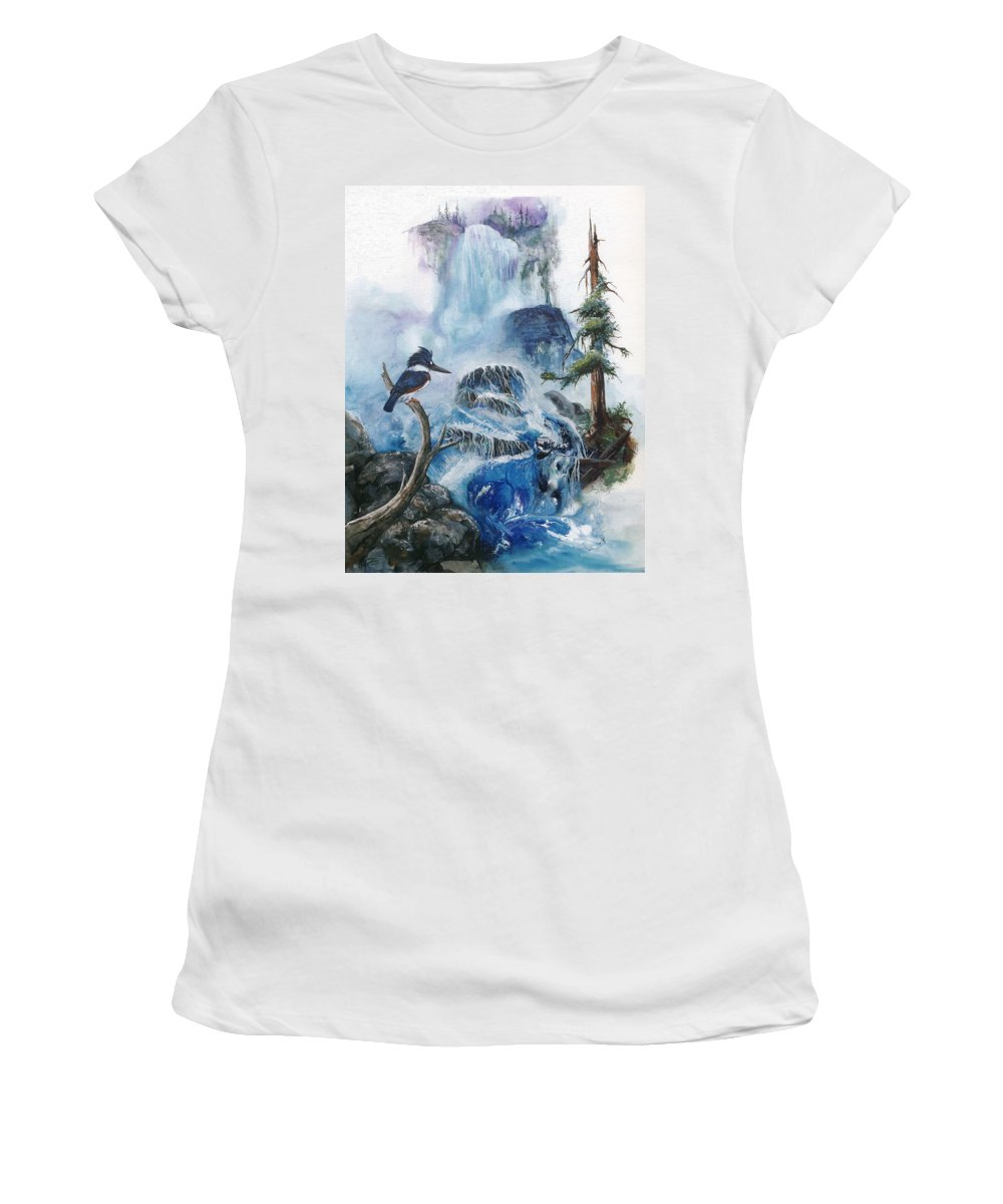 Kingfisher Women's T-Shirt (Athletic Fit) featuring the painting Kingfisher's Realm by Sherry Shipley