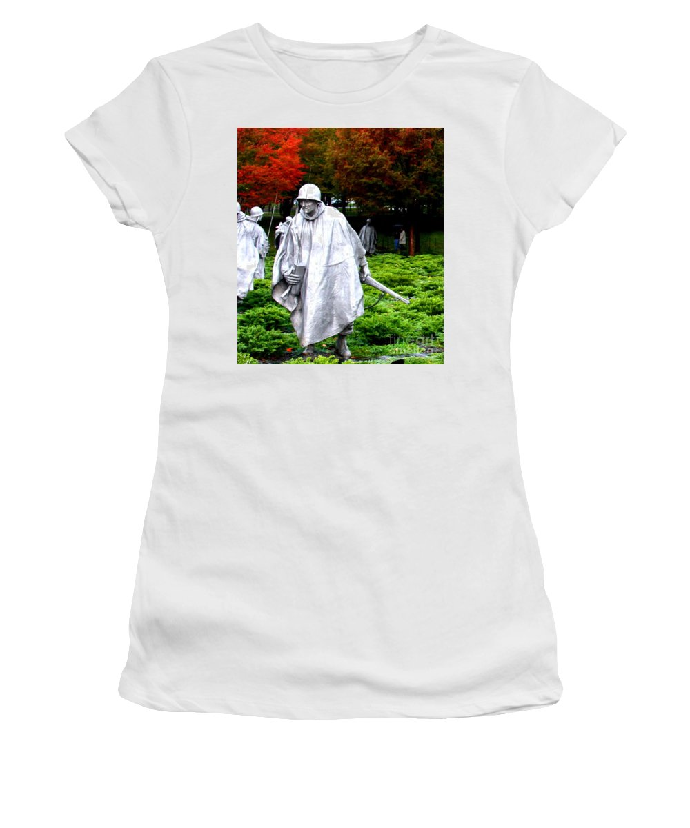 This Is A Photo Of One Of The Soldiers At The Korean War Memorial In Washington D.c.  Women's T-Shirt (Athletic Fit) featuring the photograph Korean War Memorial by William Rogers