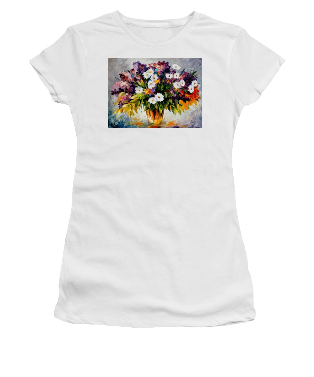 Afremov Women's T-Shirt (Athletic Fit) featuring the painting Lilac And Camomiles by Leonid Afremov