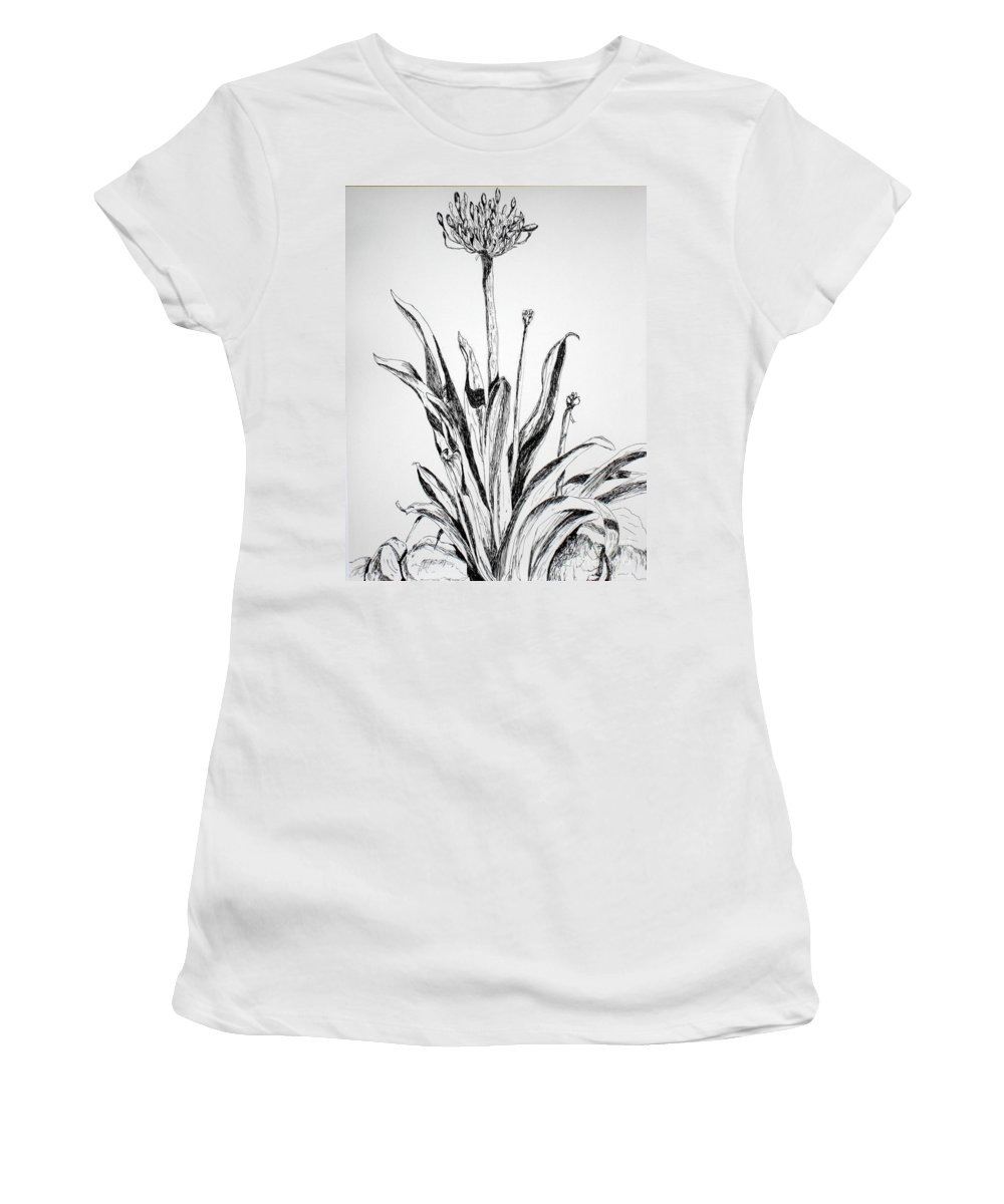 Drawing Women's T-Shirt featuring the drawing Lily Of The Nile by Vicki Housel
