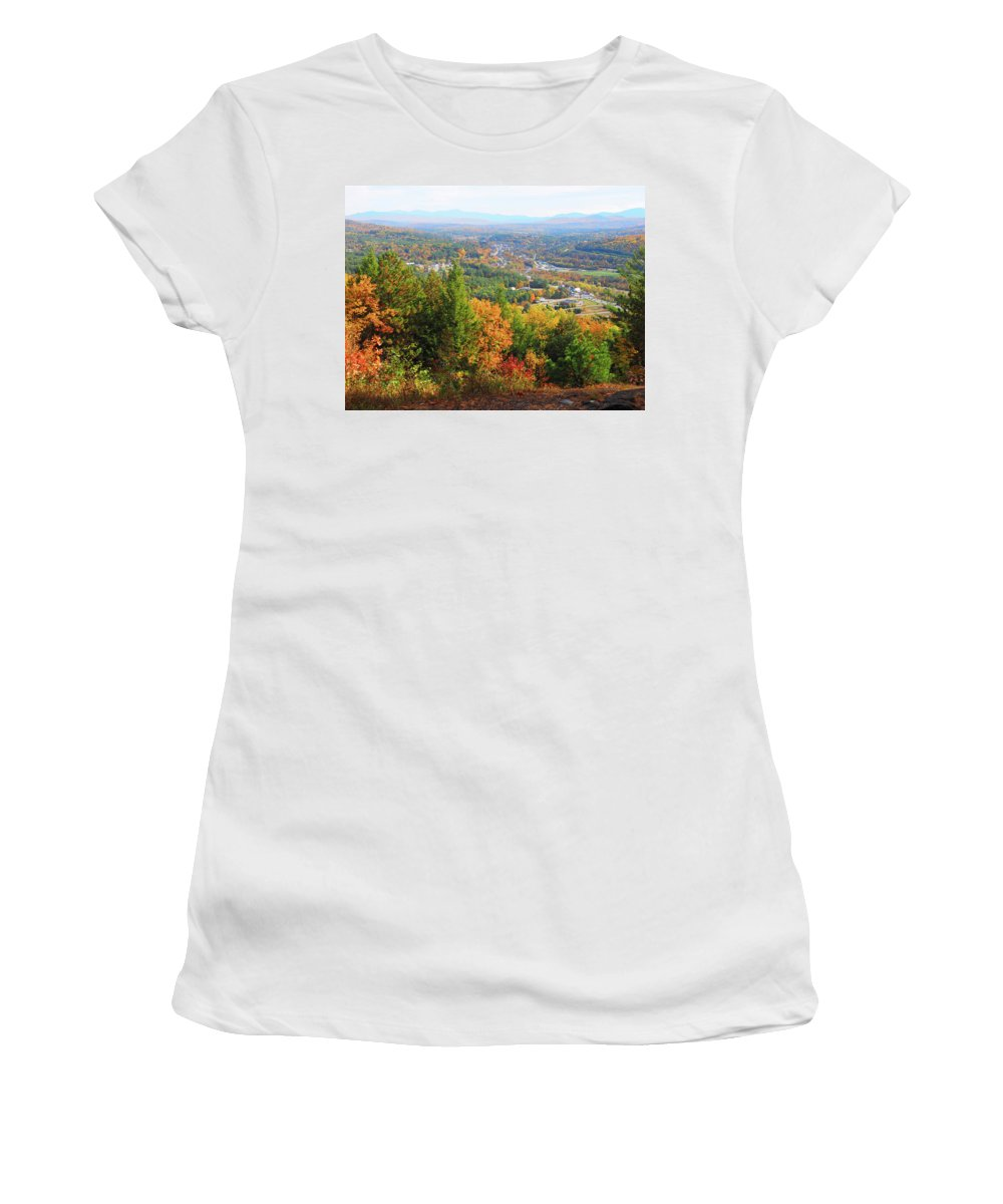 Littleton Women's T-Shirt (Athletic Fit) featuring the photograph Littleton Nh Fall by Lucio Cicuto