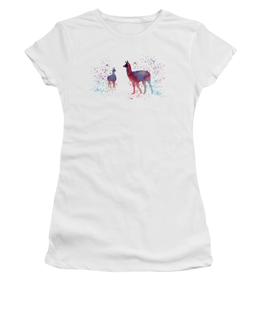 Llama Women's T-Shirt (Athletic Fit) featuring the painting Llamas by Steph J Marten