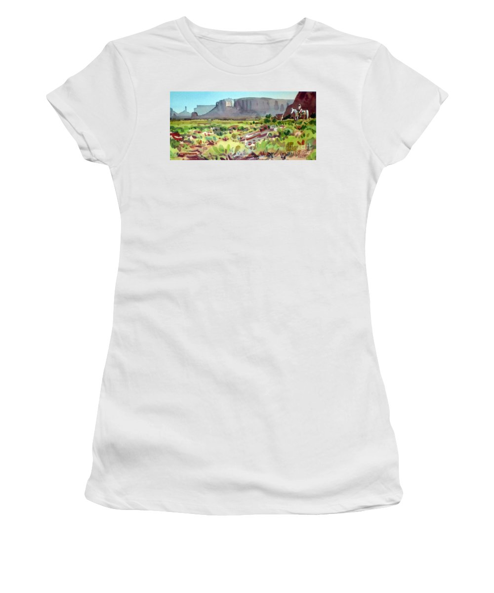 Navajo Women's T-Shirt (Athletic Fit) featuring the painting Lone Rider by Donald Maier