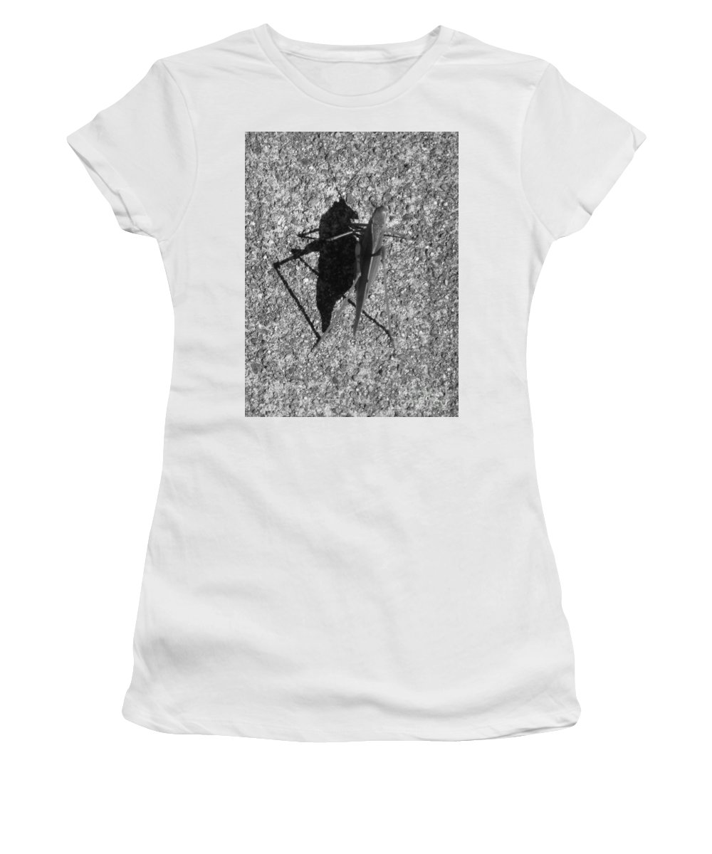Grass Hopper Women's T-Shirt (Athletic Fit) featuring the photograph Me And My Shadow Black And White by Marie Neder