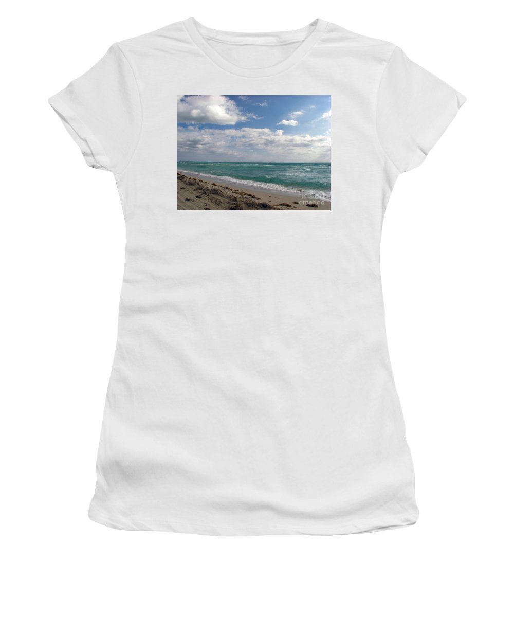 Miami Beach Women's T-Shirt (Athletic Fit) featuring the photograph Miami Beach by Amanda Barcon