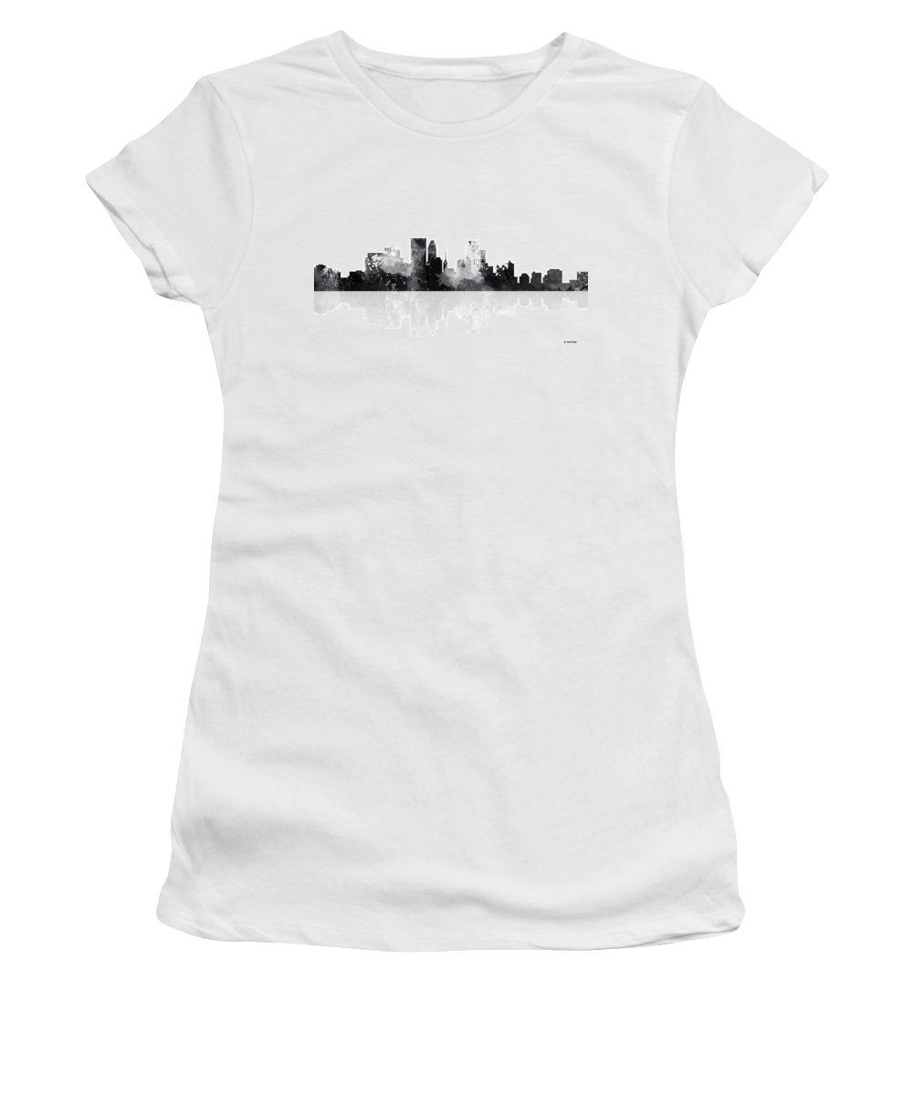 Minneapolis Minnesota Skyline Women's T-Shirt featuring the digital art Minneapolis Minnesota Skyline by Marlene Watson
