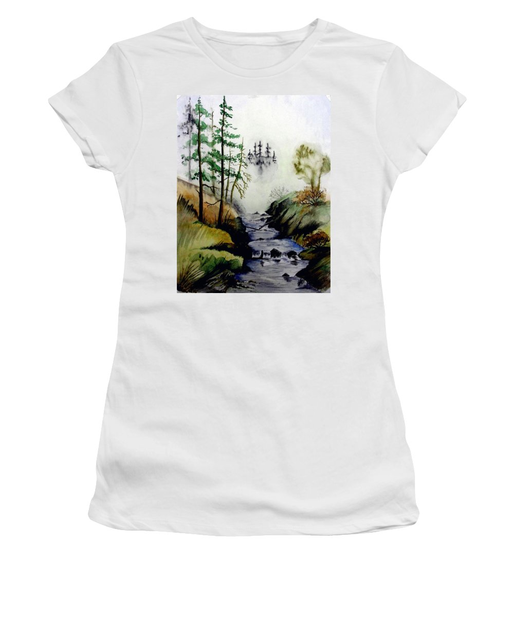 Creek Women's T-Shirt (Athletic Fit) featuring the painting Misty Creek by Jimmy Smith