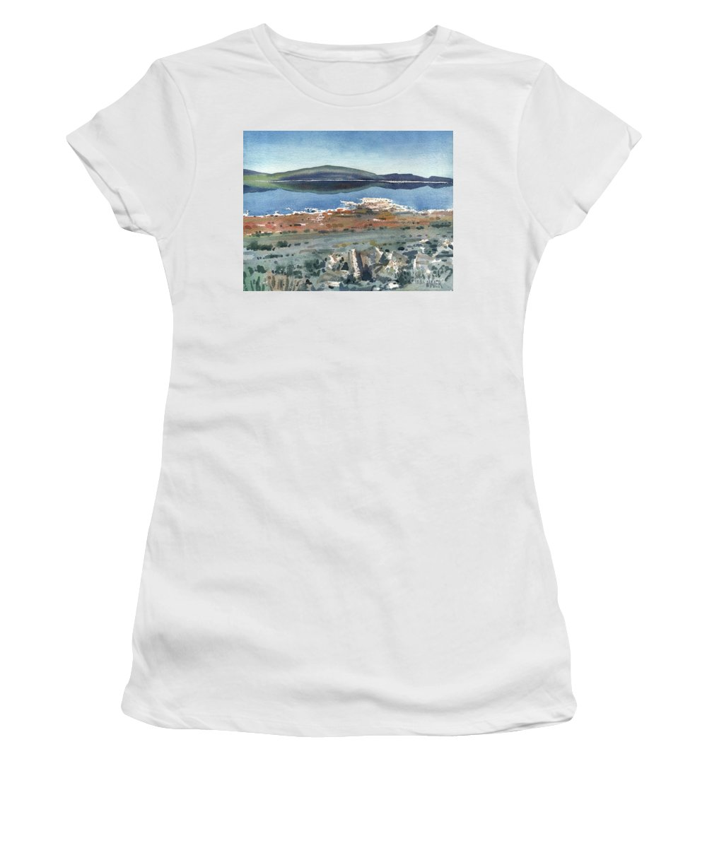 Mono Lake Women's T-Shirt (Athletic Fit) featuring the painting Mono Lake by Donald Maier