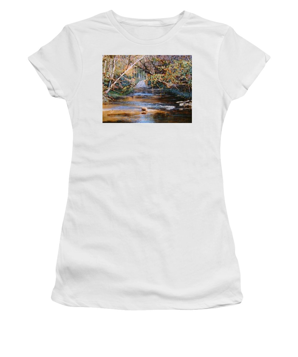 River; Waterfalls Women's T-Shirt (Athletic Fit) featuring the painting My Secret Place by Ben Kiger