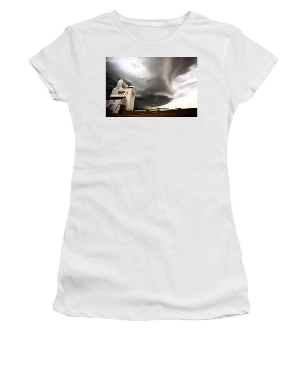 Grain Elevator Women's T-Shirt featuring the digital art Nasty Looking Cumulonimbus Cloud Behind Grain Elevator by Mark Duffy