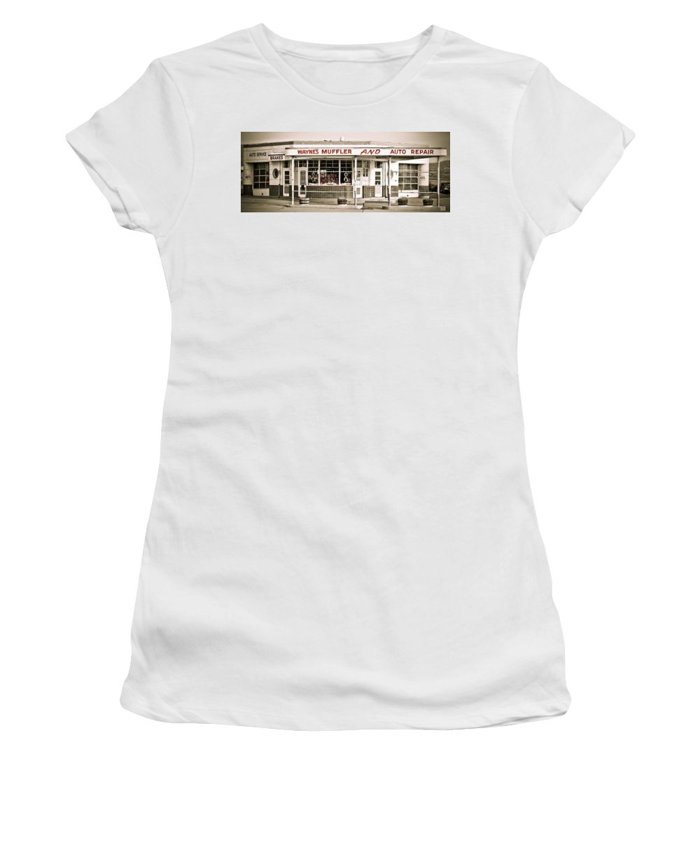 Filling Station Women's T-Shirt (Athletic Fit) featuring the photograph Old Art Deco Filling Station by Marilyn Hunt