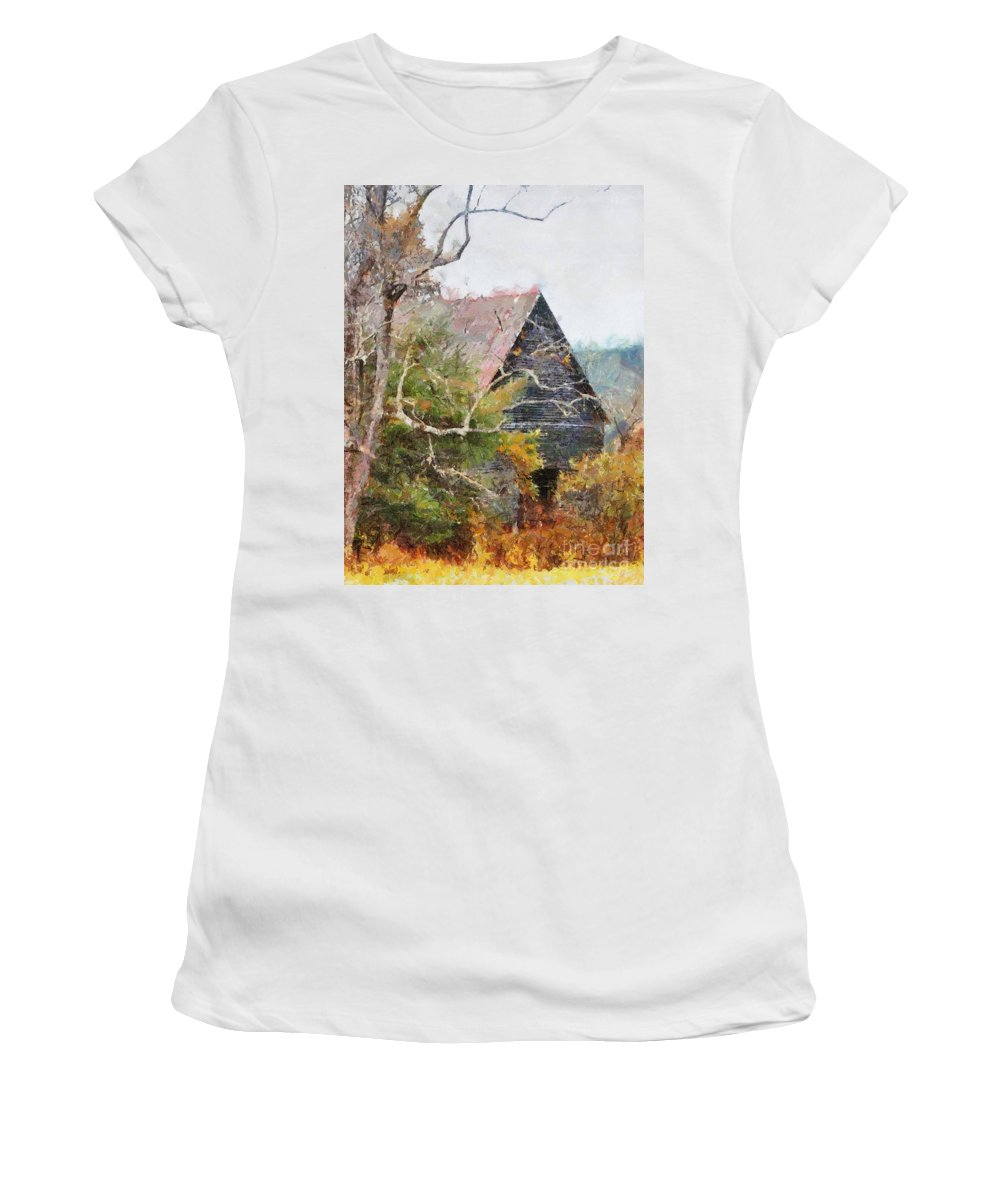 Landscape Women's T-Shirt (Athletic Fit) featuring the digital art Old Barn At Cades Cove by Todd Blanchard