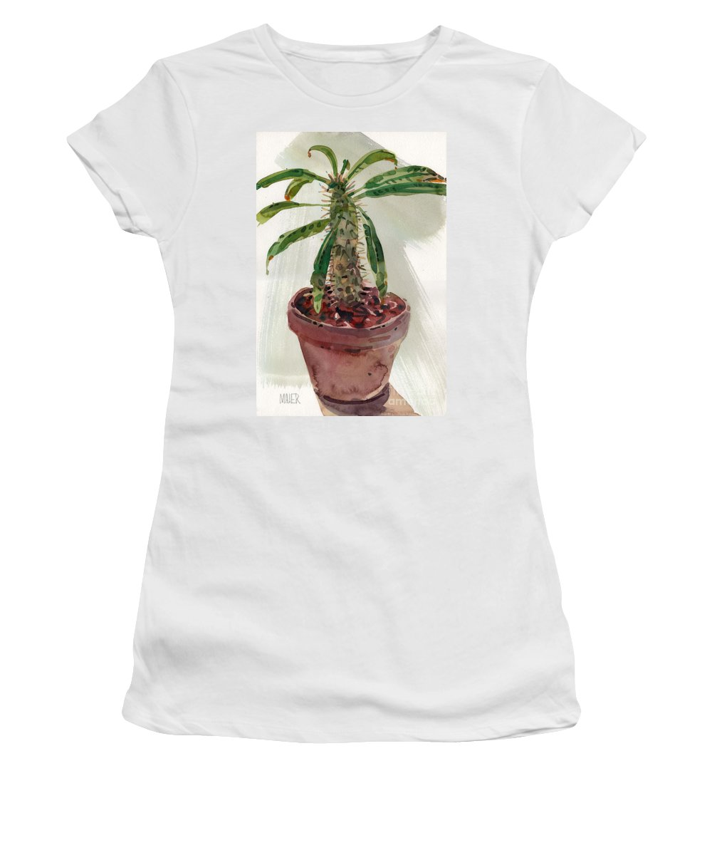 Euphorbia Women's T-Shirt (Athletic Fit) featuring the painting Pachypodium by Donald Maier