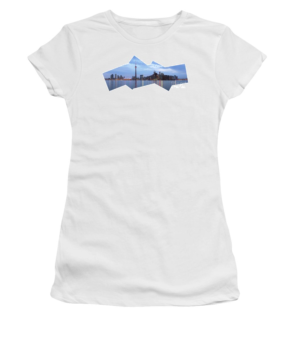 Toronto Women's T-Shirt featuring the photograph Panorama Of The City Of Toronto by Oleksiy Maksymenko
