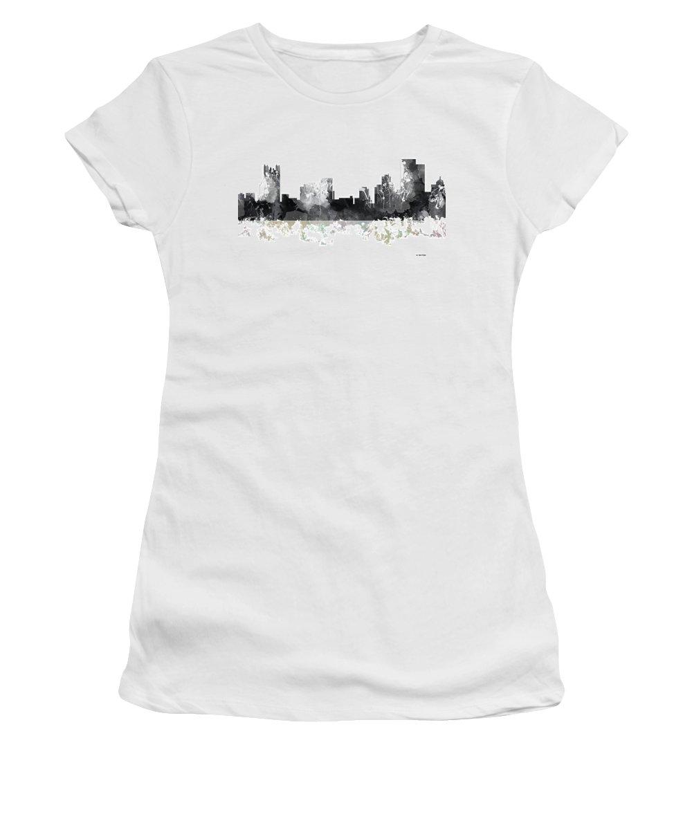 Pittsburgh Pennsylvania Women's T-Shirt featuring the digital art Pittsburgh Pennsylvania Skyline by Marlene Watson