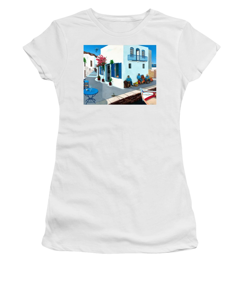 Mediterranean Women's T-Shirt (Athletic Fit) featuring the painting Premonition by Snake Jagger