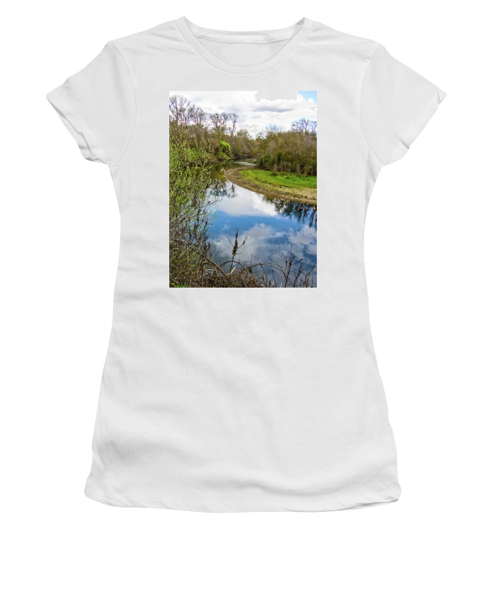 Caswell Women's T-Shirt (Athletic Fit) featuring the photograph Quiet River by John Carey