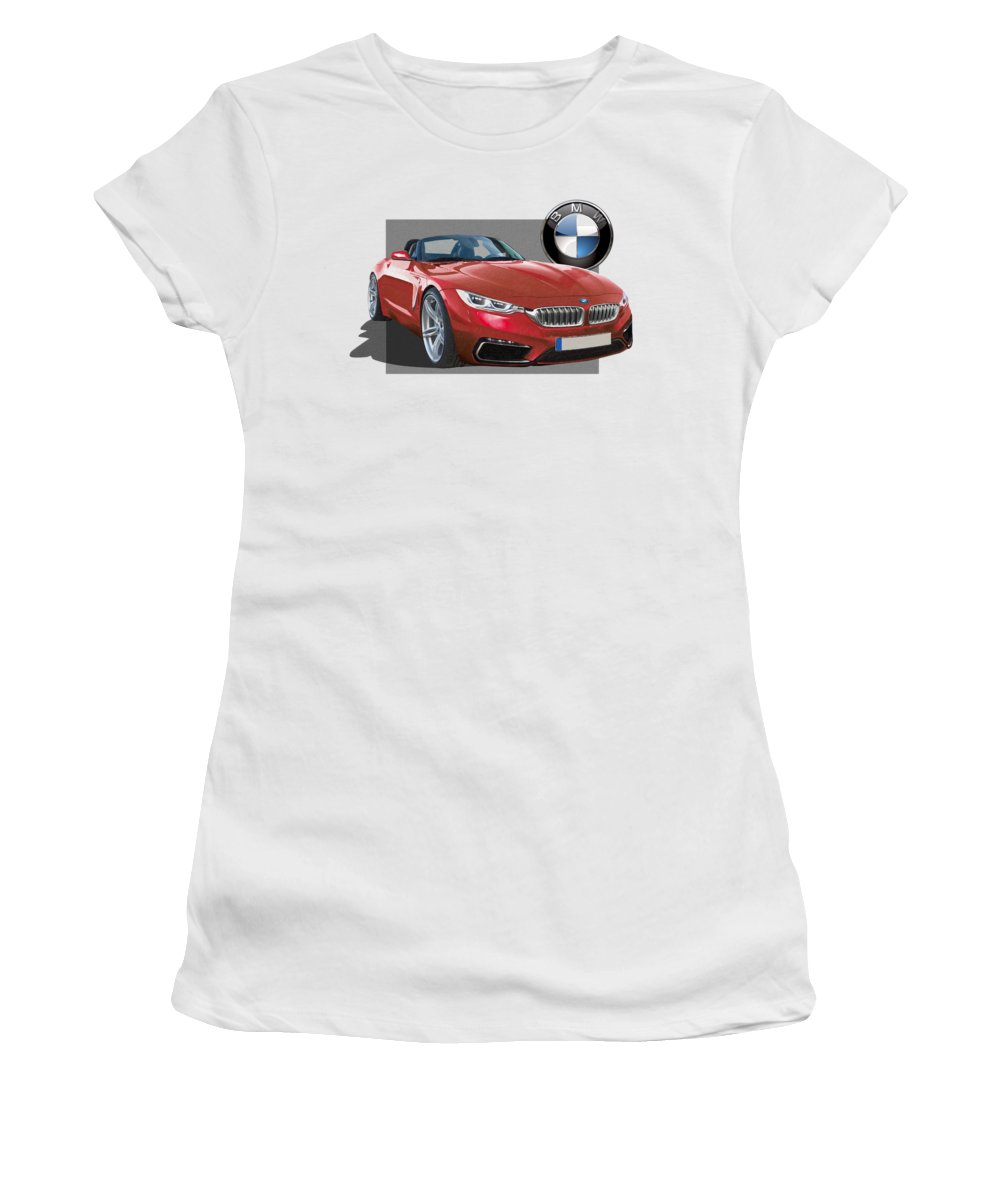 �bmw� Collection By Serge Averbukh Women's T-Shirt featuring the photograph Red 2018 B M W Z 5 With 3 D Badge by Serge Averbukh