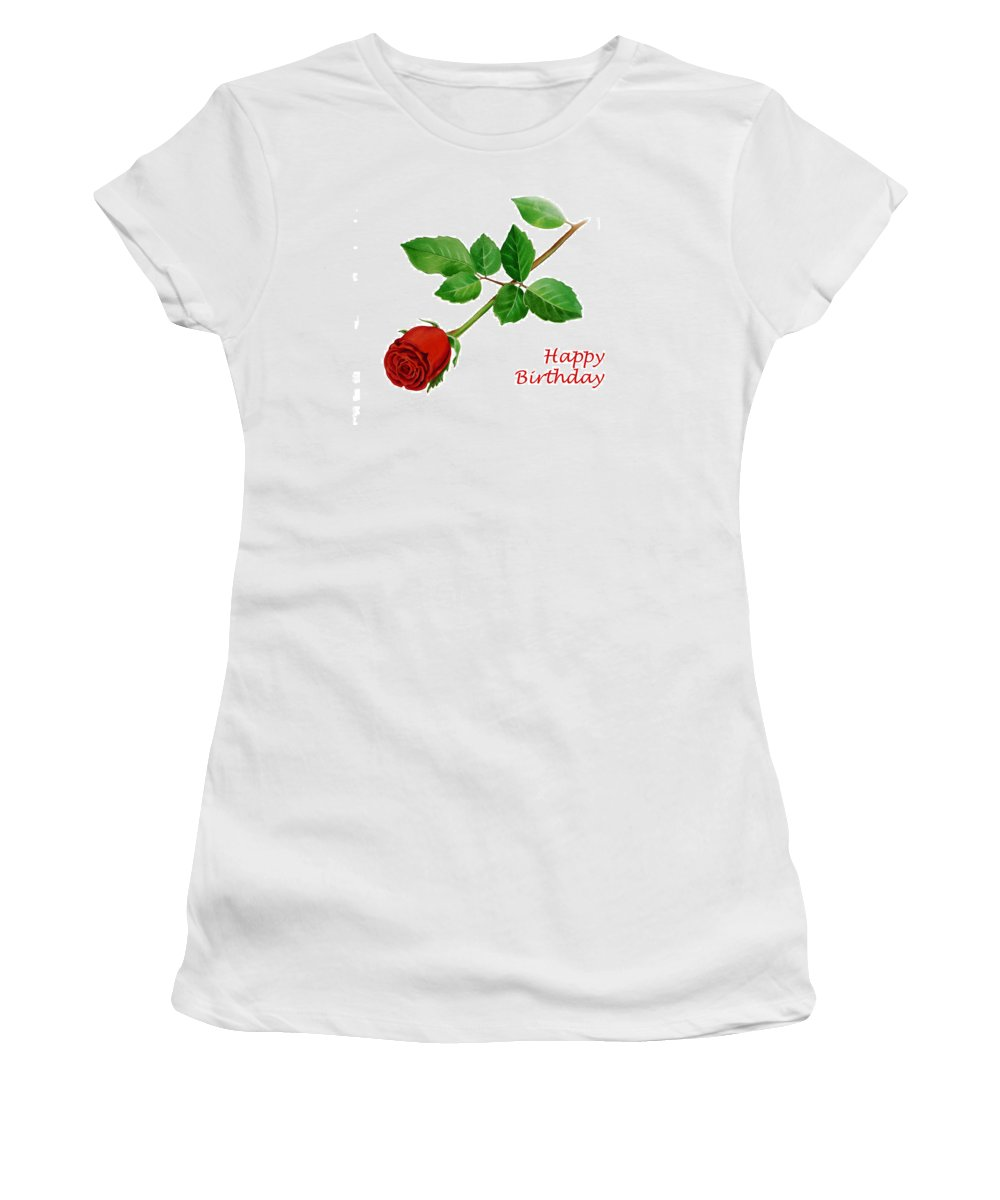 Rose Women's T-Shirt (Athletic Fit) featuring the painting Red Rose Happy Birthday by Irina Sztukowski
