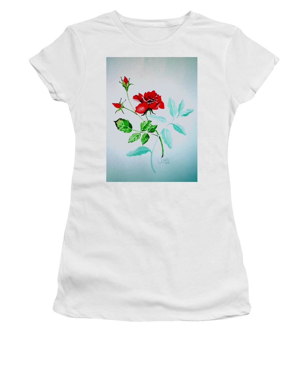 Roses Women's T-Shirt (Athletic Fit) featuring the painting Red Roses by Jimmy Smith
