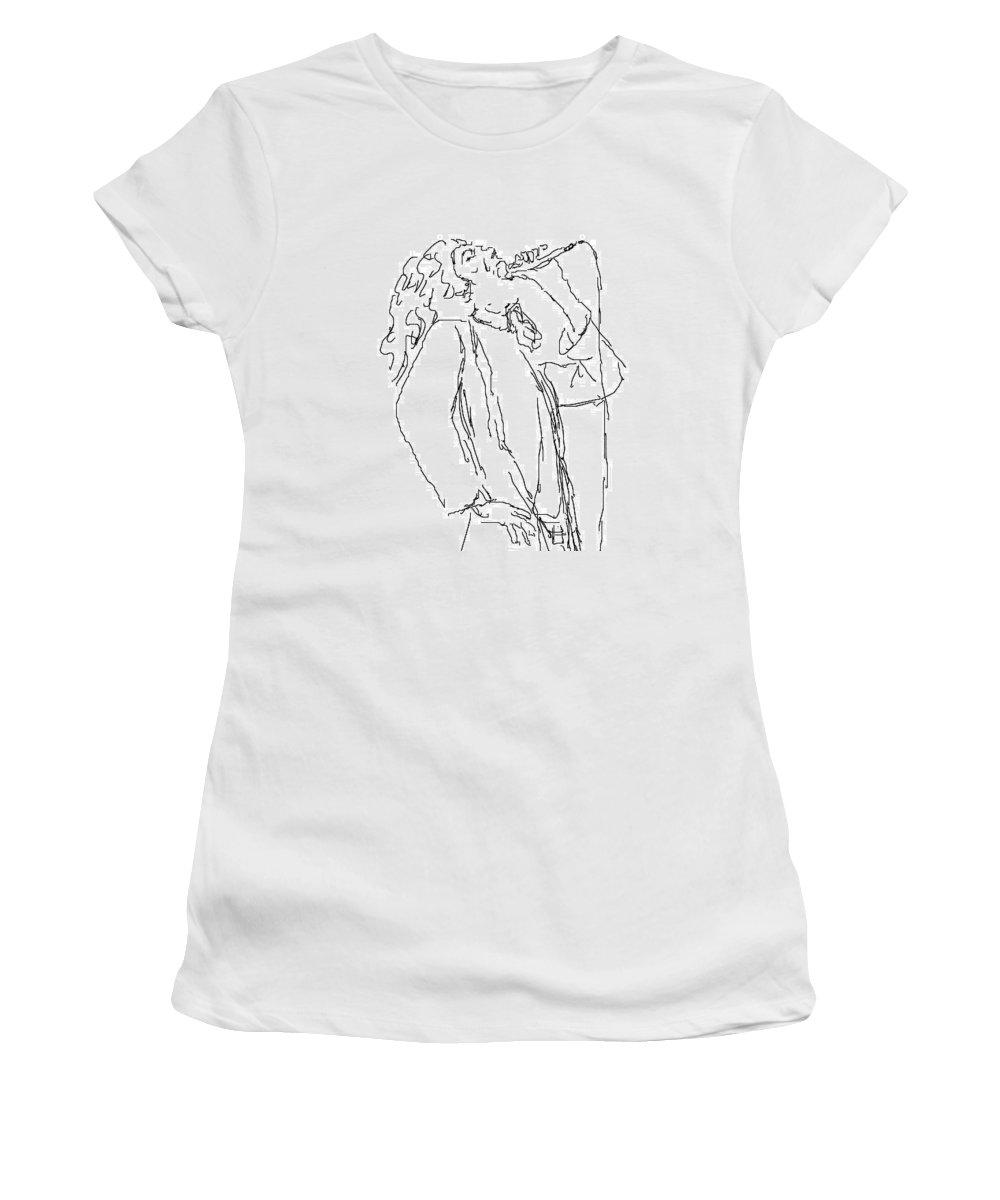 Robert Plant Women's T-Shirt featuring the photograph Robert Plant by Angela Murray