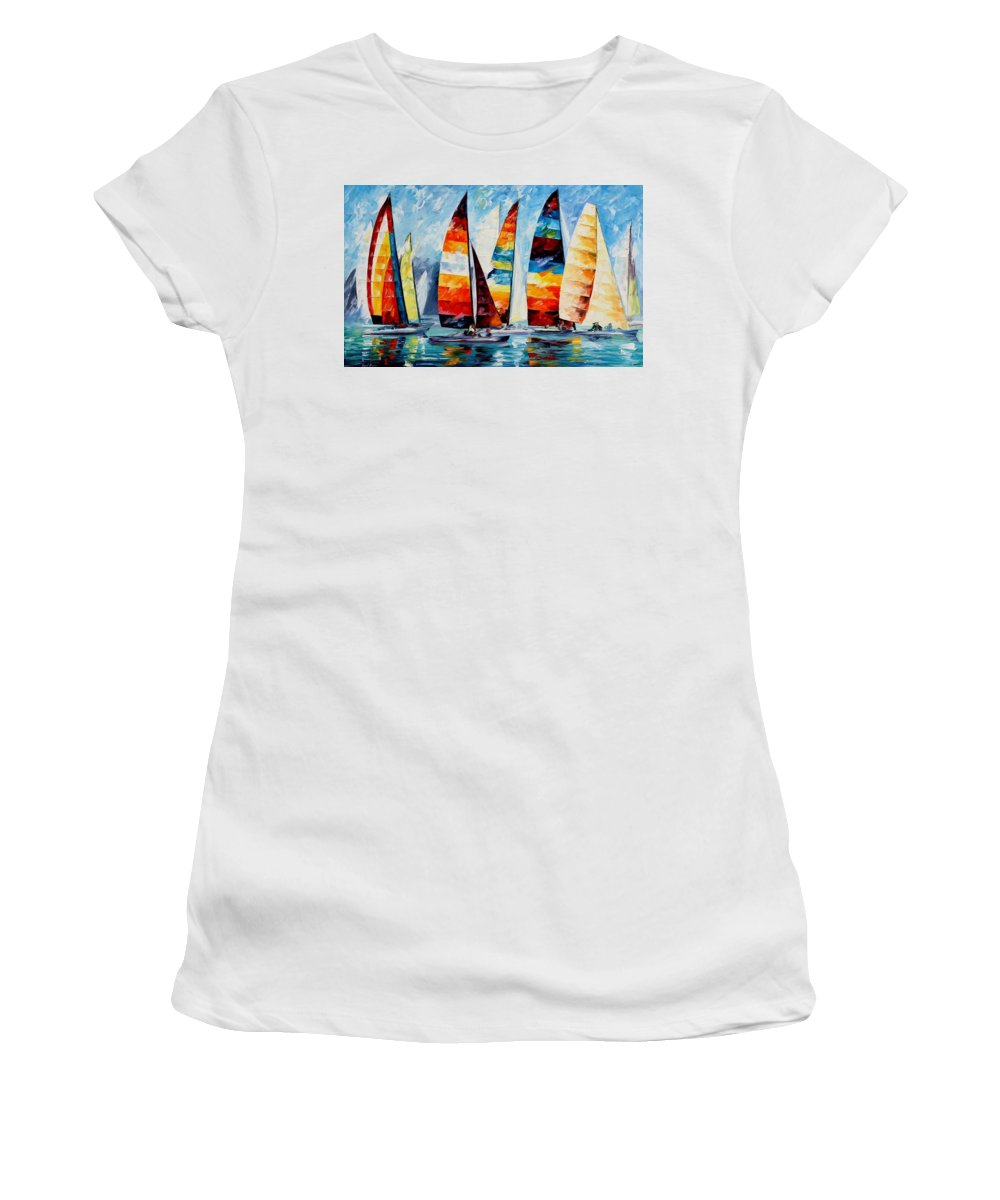 Afremov Women's T-Shirt (Athletic Fit) featuring the painting Sail Regatta by Leonid Afremov