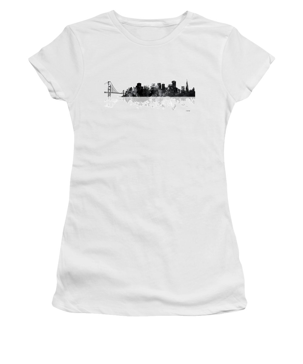San Francisco California Skyline Women's T-Shirt featuring the digital art San Francisco California Skyline by Marlene Watson