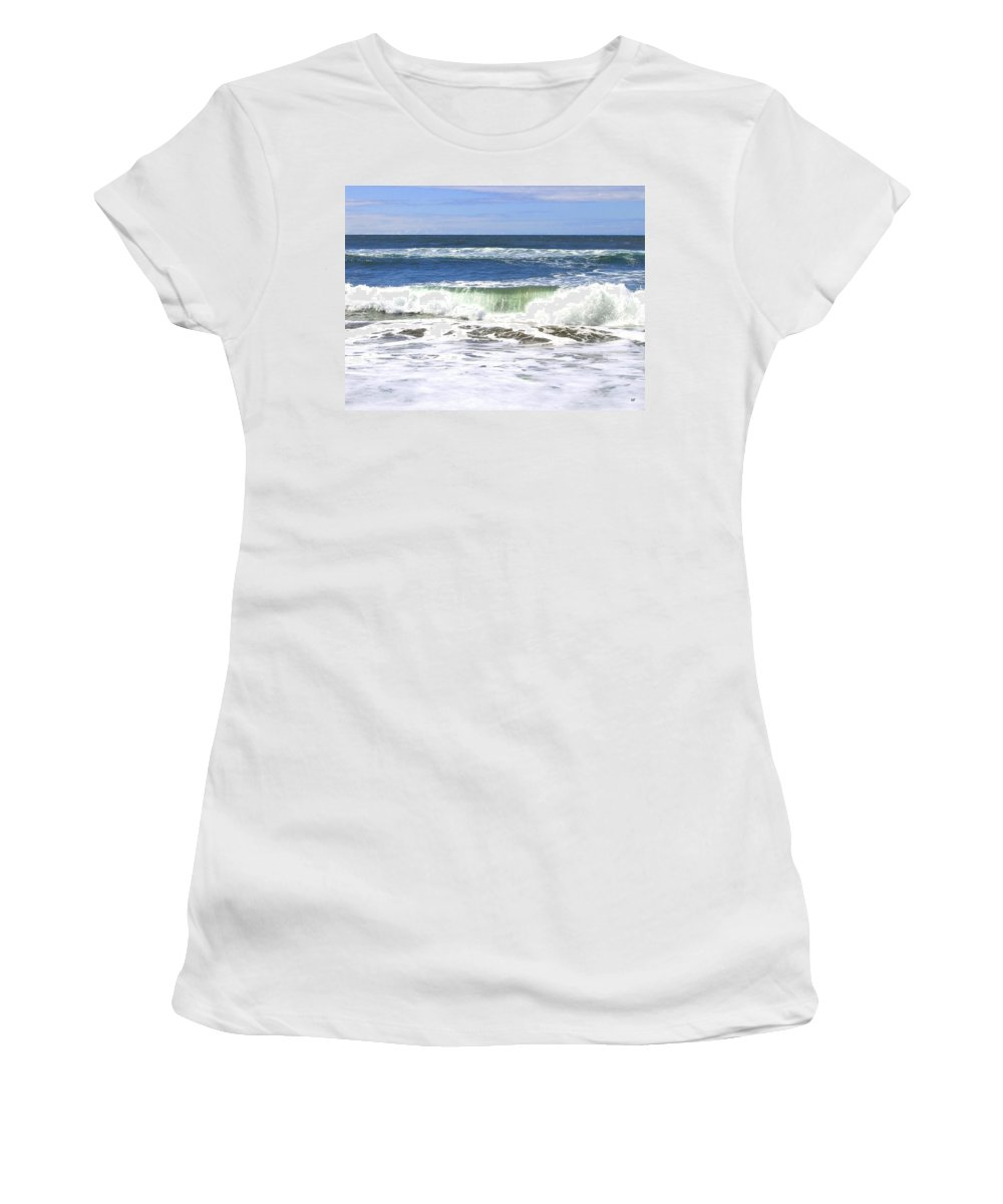 Sand And Sea Women's T-Shirt (Athletic Fit) featuring the photograph Sand And Sea 1 by Will Borden