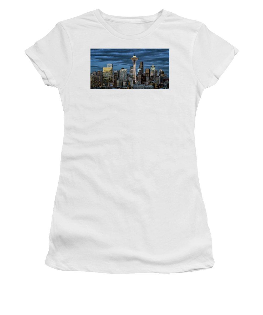 Seattle Women's T-Shirt featuring the photograph Seattle Night by Robert Fawcett