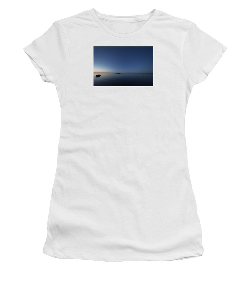 Frank Olsen Norway Lofoten Reine Blue Sunrise Sea Ocean Orange Women's T-Shirt (Athletic Fit) featuring the photograph Soft Tones by Frank Olsen