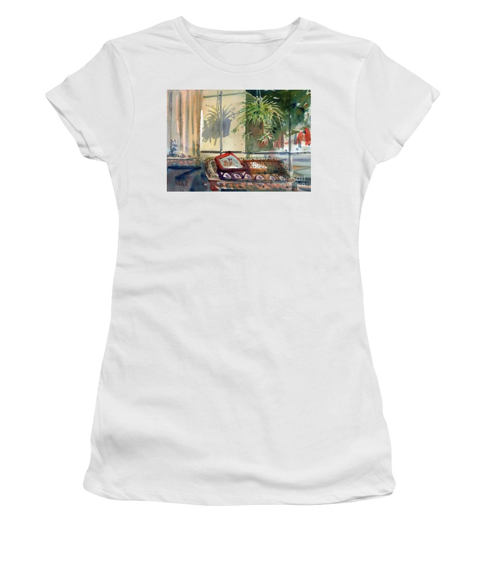 Spider Plant Women's T-Shirt (Athletic Fit) featuring the painting Spider Plant In The Window by Donald Maier