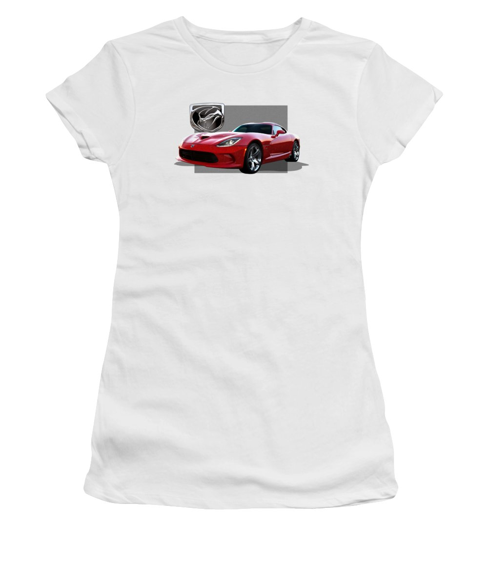 'dodge Viper' By Serge Averbukh Women's T-Shirt featuring the photograph S R T Viper With 3 D Badge by Serge Averbukh