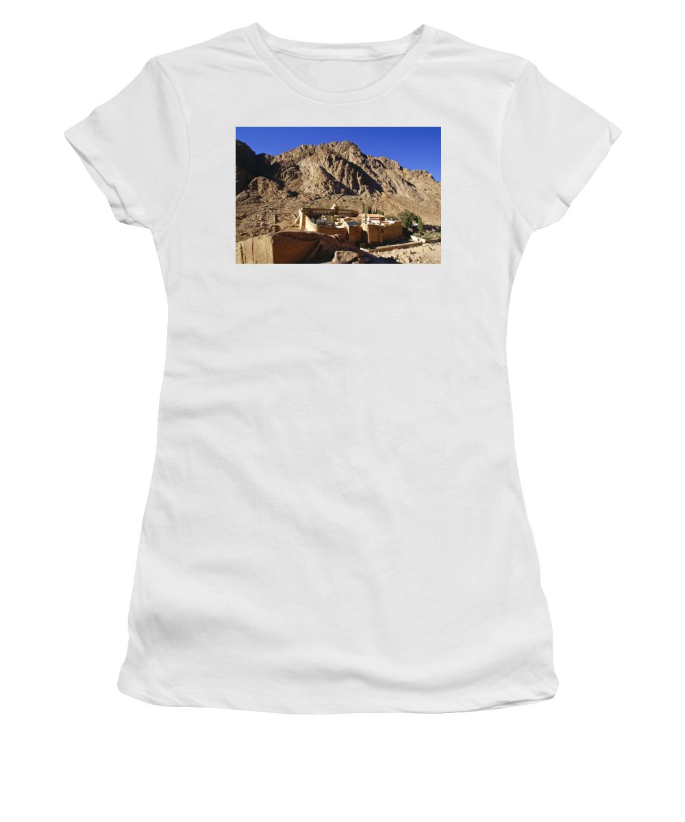 Egypt Women's T-Shirt (Athletic Fit) featuring the photograph St. Catherine's Monastery by Michele Burgess