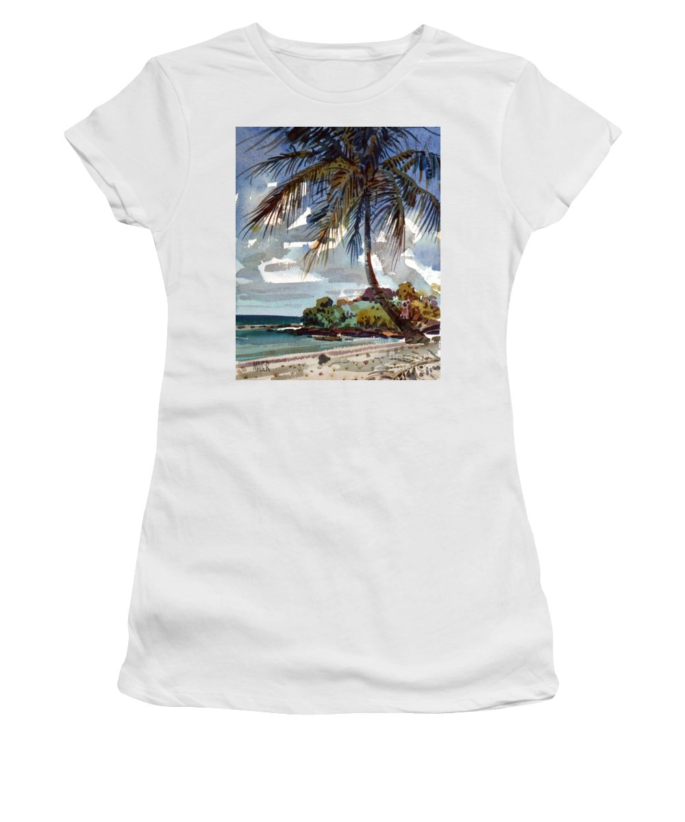 St. Croix Women's T-Shirt (Athletic Fit) featuring the painting St. Croix Beach by Donald Maier